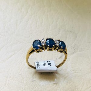 9ct Tanzanite and Diamond Half Eternity Ring